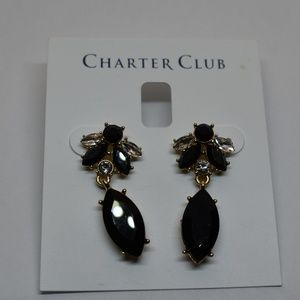 Charter Club Gold Tone Crystal & Stone Drop Earrin